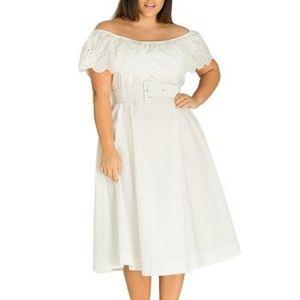 NWOT City Chic Belted Off Shoulder Eyelet Dress